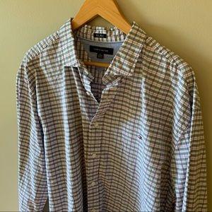 Tommy Hilfiger Checkered Dress Shirt 80's 2 Ply